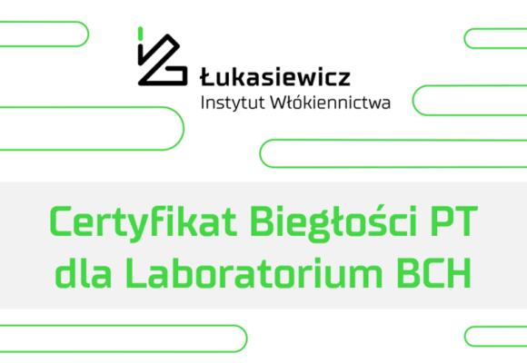 Certyfikat biegłości PT dla Laboratorium Badań Chemicznych i Analiz Instrumentalnych